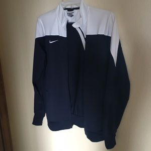 Blue and white zip-up Nike jacket